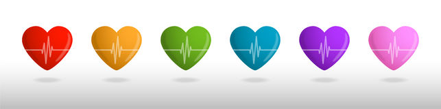 Color hearts. With cardiogram, Valentines card Stock Photography