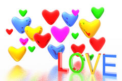 Color hearts background Stock Photo
