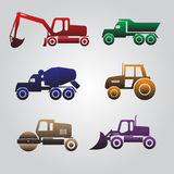 Color heavy machinery cars icons Royalty Free Stock Photography
