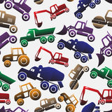 Color heavy machinery cars seamless pattern Royalty Free Stock Image