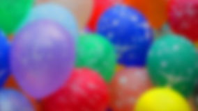 Color helium balloons fly. Soft-focus. Stock Photo