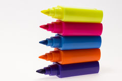 Color Highlight Pens. Yellow pink orange blue, on white background stock photos
