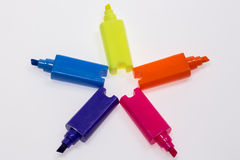 Color Highlight Pens. Yellow pink orange blue, on white background royalty free stock photo