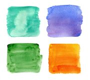 Color highlight stripes, square banners drawn with watercolor. royalty free stock photo