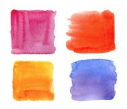 Color highlight stripes, square banners drawn with watercolor. stock images