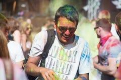 The color Holi Festival. Celebrants dancing during the color Holi Festival Royalty Free Stock Photos