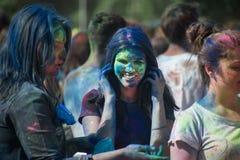 The color Holi Festival. Celebrants are painting each other during the color Holi Festival Royalty Free Stock Image
