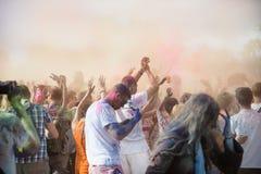 The color Holi Festival. Celebrants are painting each other during the color Holi Festival Royalty Free Stock Photos