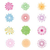 Color holiday party festival firework vector icons. Set of salute with spark for christmas or birthday illustration Stock Photos