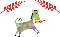 Color horse. Colorfull horse or jackas with red plants graphic illustration Royalty Free Stock Photos
