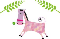 Color horse. Pinc color horse or jackas grapchic illustrtion Stock Photography