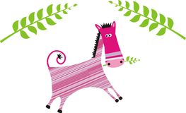 Color horse. Pink horse with green plants graphic illustration Royalty Free Stock Photos