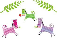 Color horses. There colorated graphic horses illustration Stock Photos
