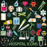 Color hospital icons by chalk Royalty Free Stock Photography