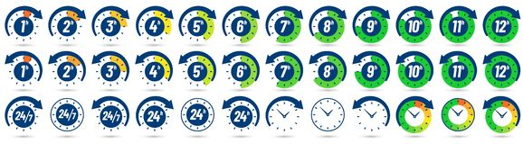 Free Color Hours Icon. Timer From 1 To 12 Hours, Time Ago And Next Label Dial With Arrow. Clock, 24 7 And 24h Available Royalty Free Stock Photos - 185384148