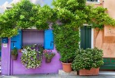 Color house on Burano island near Venice , Italy Stock Photos
