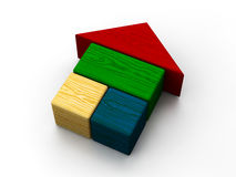 Color house toy. Color toy house on white background Royalty Free Stock Photo