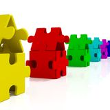 Color Houses. Color Puzzle Houses on whihe background Royalty Free Stock Photo
