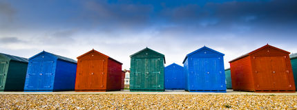 Color houses. Coloured houses at the beach royalty free stock image