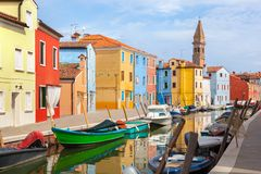 Color houses on Burano island near Venice Stock Image