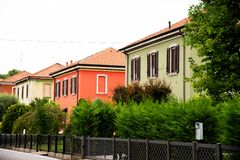 Workers` houses in Crespi d`Adda, Bergamo, Italy stock photography