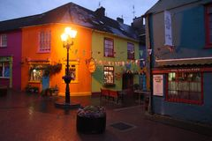 Color houses of Kinsale in the night. In Ireland Royalty Free Stock Photos