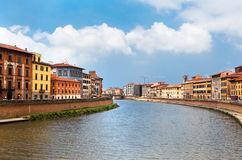 Color houses of Pisa and Arno River Royalty Free Stock Photo