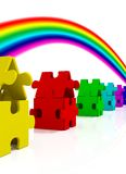 Color Houses and rainbow. Color Puzzle Houses on whihe background Stock Images