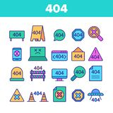 Color 404 HTTP Error Message Vector Linear Icons Set stock image