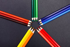 Color hues presented with colorful pencils Royalty Free Stock Images