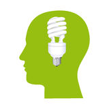 color human face silhouette with bulb light in mind Royalty Free Stock Photos