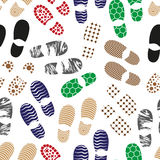 Color human shoes footprint various sole seamless pattern eps10 vector illustration