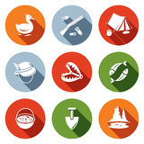Color hunting and fishing flat icon set. Color hunting and fishing icon set on a colored background Royalty Free Stock Image