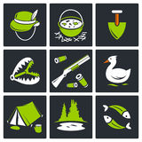 Color hunting and fishing icon set. On a black background Royalty Free Stock Images