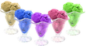 Color ice cream cones over white Royalty Free Stock Image