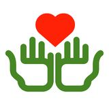 Color icon. heart and hands on white background Royalty Free Stock Photography