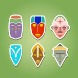 Color icon set with african ritual masks Stock Photography