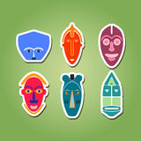 Color icon set with african ritual masks Royalty Free Stock Photography