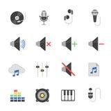Color icon set - audio Stock Photo
