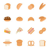 Color icon set - bread and bakery Royalty Free Stock Image