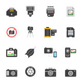 Color icon set - camera and accessory Stock Photography