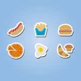 Color icon set with fast food Stock Photos