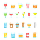 Color icon set - glass and beverage Stock Photography
