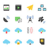 Color icon set - network communication Stock Images