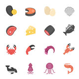 Color icon set - raw food material Stock Photos