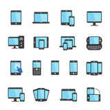 Color icon set - responsive devices Stock Photography