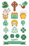 Color icon set for St. Patrick`s Day royalty free illustration