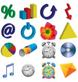 Color icons. A small collection of color 3D icons for various necessities Stock Photos