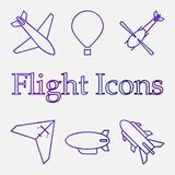 Color icons of air vehicles. Vector on white background stock illustration