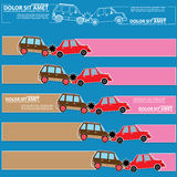 Color icons of car crash and blank  stripe Stock Image